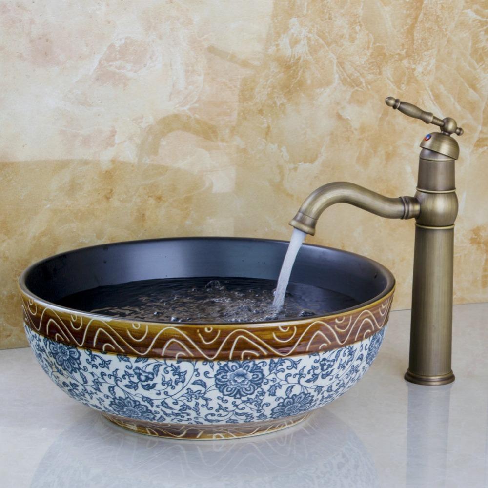Countertop Sink Bowl : Porcelain Countertop Bowl Sink Handmade Ceramic Bathroom Vessel Sinks ...