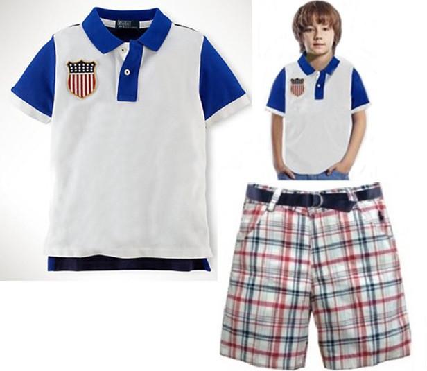 New Summer baby boys brand POLO t shirt + plaid shorts set kids fashion polo shirt pants sets Children polo turn-down collar top(China (Mainland))