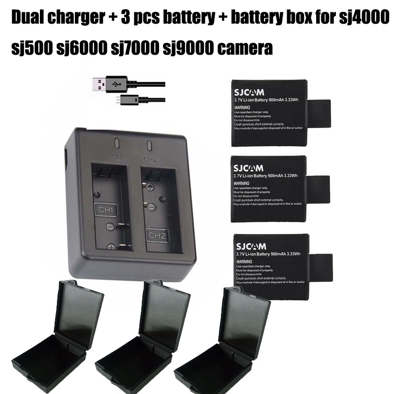 3PCS 900mAh 3 7V Original SJCAM SJ4000 Battery Lithium Batteries SJ 4000 Dual Charger For SJ5000