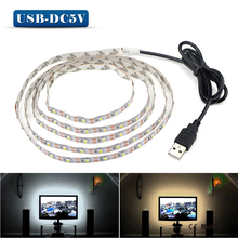 5V 50CM 1M 2M 3M 4M 5M USB Cable Power LED strip light lamp SMD 3528 Christmas desk Decor lamp tape For TV Background Lighting(China (Mainland))