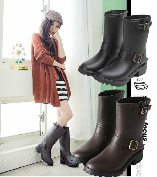 Freeshipping Лучшие Продажи Корейских Леди Мода Нового Прибытия Короткие Резиновая женской Моды Случайные Сапоги Дождь Элегантной Обуви S100