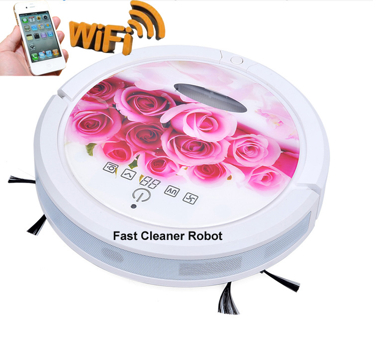 Smartphone WIFI App Smart Dry and wet Mop Robot Vacuum Cleaner for Home,Auto charge,HEPA Filter,Sensor,household cleaning(China (Mainland))