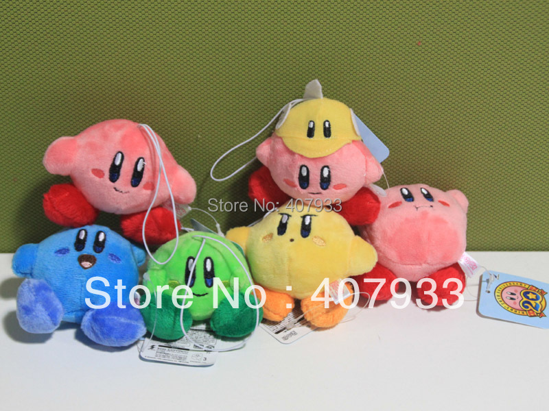 1 set 6pcs New Arrival 6 Styles 2.4inch Super Mario Bros kirby Stuffed Plush Keychain Strap Pendent(China (Mainland))