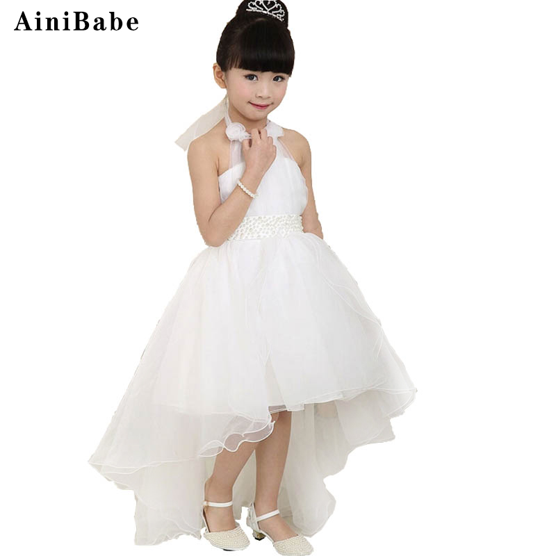 LOWEST PRICE Elegant Flower Girls Dress Children's Princess Cute baby girl baptism dresses Wedding Party birthday gift for girls(China (Mainland))