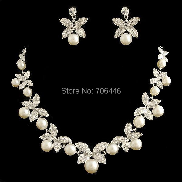 Silver Plated Wedding Bridal Jewelry Sets Ivory Pearl Rhinestone Crystal Necklace Earrings  -  Yiwu Liangqian Accessories Firm (Mini Order>$8 store)