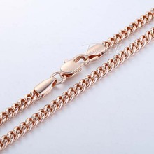 4MM Curb MENS Boys Chain Necklace 18K Gold Filled Necklace 18KGF High Quality 18 36INCH Jewelry