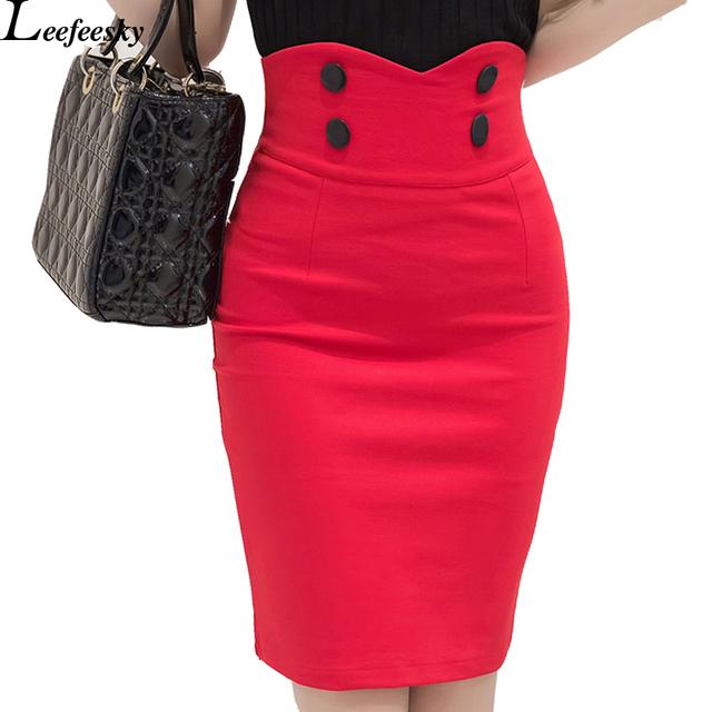 Двубортный 2016 Женская Мода Офис Юбки Длиной до колена Высокой Талией Женщины Bodycon Юбка-Карандаш Щель 5XL Плюс Размер Saia Лонга