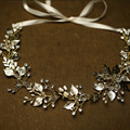 Vintage Handmade Gold Leaves Wedding Hair Vine Tiara Rhinestone Headband Bridal Accessories Women Hair Jewelry Headpiece