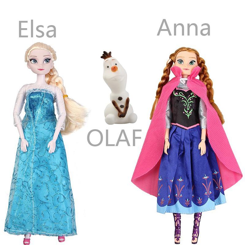 3PCS/SET Clearance Sale Boneca Elsa Anna Doll Princess Girl Toys. Brinquedos Olaf Toys Without Original Box Opp Bag(China (Mainland))