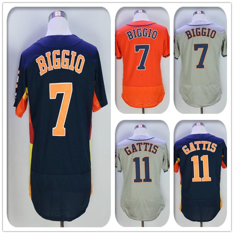 New Fabric Mens Flexbase Version #7 Craig Biggio #11 Evan Gattis Jersey Color Gray Navy Rainbow Orange White Jerseys(China (Mainland))
