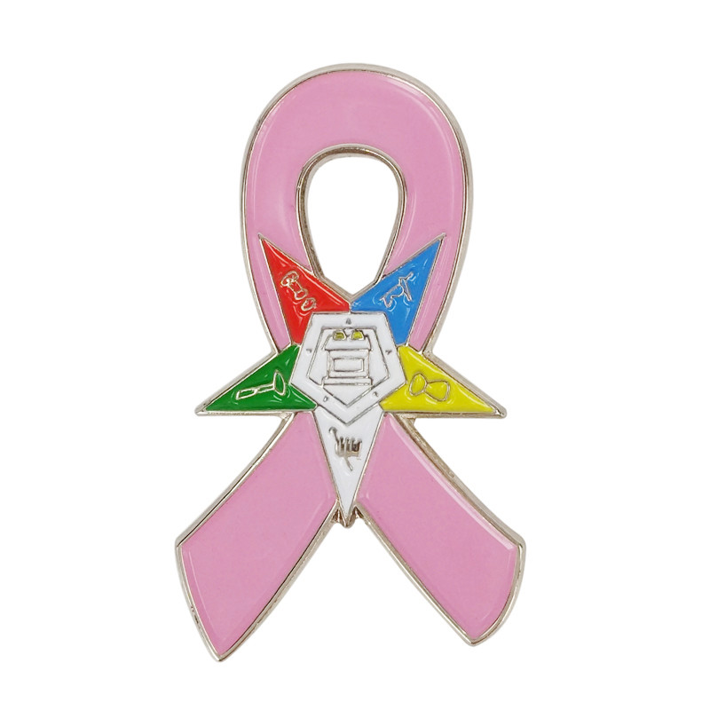 Breast Cancer Awareness Eastern Star OES Masonic Square and Compass Cardinal Bird Golf Clubs Fight Cross Pink Ribbon Lapel Pins(China (Mainland))