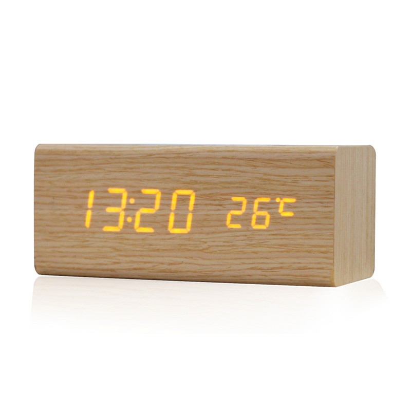 High Quality Brand New Modern Wooden Digital LED Desk Alarm Clock Thermometer Acoustic Control Sensing Clock(China (Mainland))