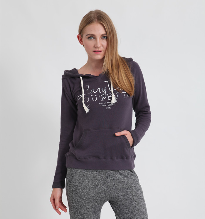 """Free Shipping 2015 Brand New autumn winter Women hoodies sweatshirts Premium Quality with """"Lazy Day"""" print Letter, 2 colors(China (Mainland))"""