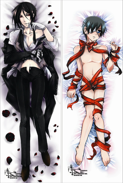 Free Shipping Anime Dakimakura hugging pillow case: Black Butler, Sebastian Michaelis & Shieru Pandomuhaiwu -20130425