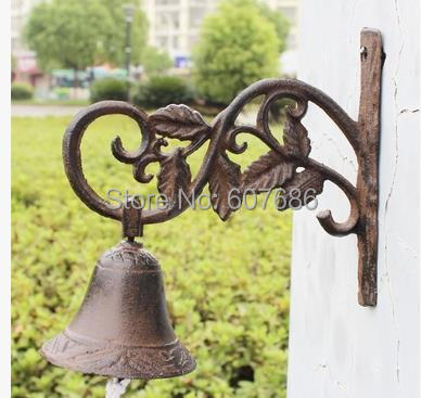 Country Rustic Leaf  Door Bell WELCOME Dinner Bell Cast Iron Wall Decorative Bell for Home Bar Shop Store Antirust Free Shipping