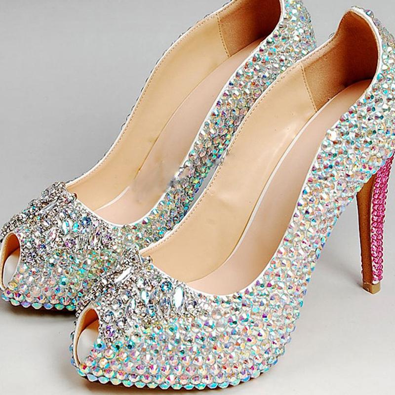 2014 Fashion  High Heel Peep Toe Shoes Rhinestone Wedding Dress Shoes Lady Evening Party Shoes Night Club Dress Shoes<br>