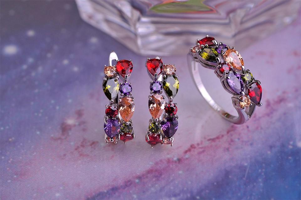 Роскошный мона лиза медь ювелирные комплект зубец установка вод-падения CZ циркония серьги кольца красочные горный хрусталь Brincos анель