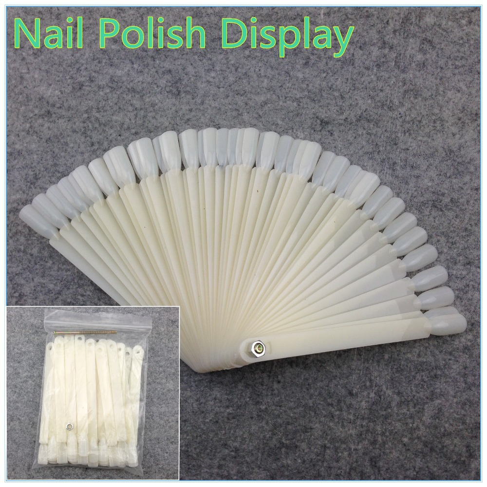 50Pcs White Natural False Nail Art Tips Sticks Polish Display Fan Practice Tool Board Nails Tools + Free Shipping (NR-WS43)