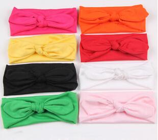 Baby Girl Headbands Elastic Fabric Rabbit Ears Headwraps Headbands Pure Color Cute Hairband Bows Band Hairbow Drop Shipping(China (Mainland))