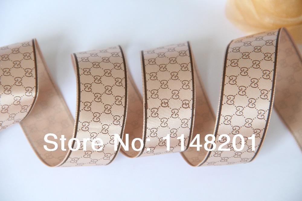 "Free shipping !1""(25mm)Famous brand LOGO printed satin ribbon hair accessories(China (Mainland))"