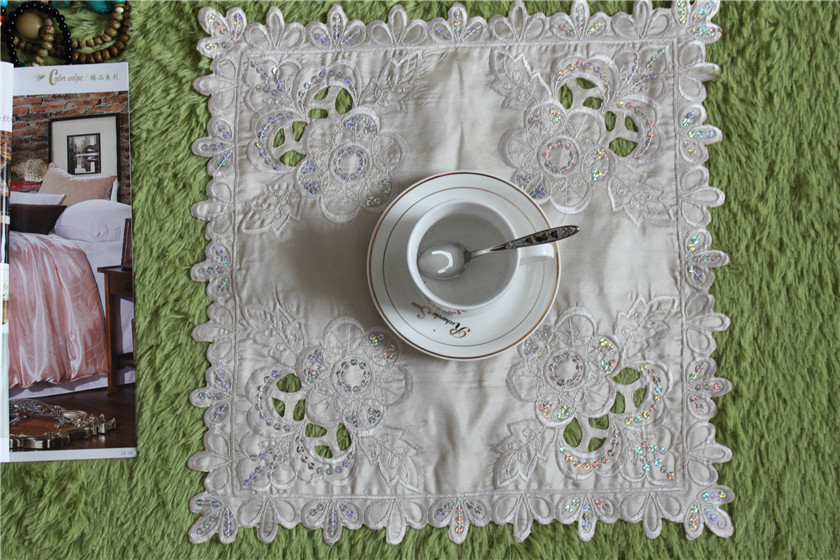 38*38cm European polyester table mats pads beige embroidery table cloth cloths cover for wedding banqeut Accessories decoration(China (Mainland))