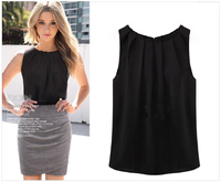 top blouse sale 2015 summer vogue style women blouse fashion pintuck neckline sleeveless chiffon