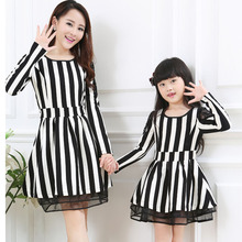 2015 mother daughter dresses women long sleeve striped dress matching mother daughter clothes mommy and me clothes family look