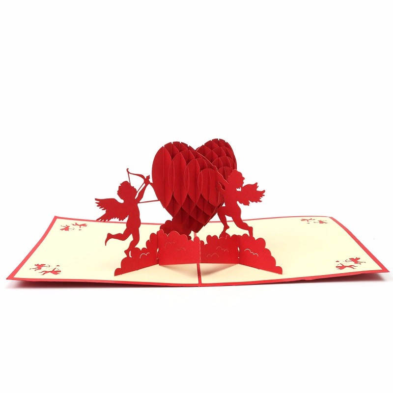 3D Pop Up Greeting Red Card Paper Carving Cupids and Heart For Lover Anniversary Wedding Invitation Cards Valentine Day Gifts(China (Mainland))