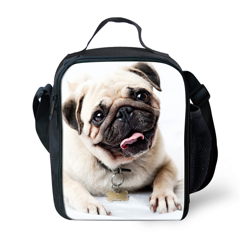 Unique 3D Zoo Animals Pug Dog Printing Lunch Bags Crazy Horse Owl Lunchbox for Kids Thermal Lunch Box Picnic Food Bag Insulated