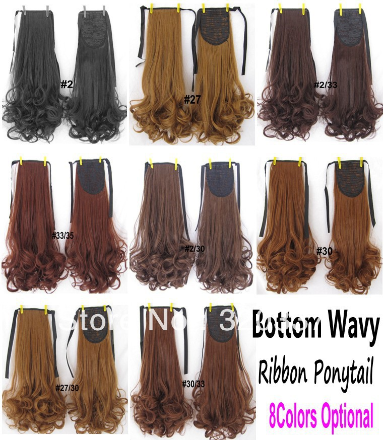 New Arrival Womens Fashion Bottom Wavy Clip in Ribbon Ponytail Hair Wavy Ponytail Extensions 8Colors Optional Free Shipping<br><br>Aliexpress