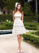 2014 New Cute Lovely Knee-Length Appliques Organza Satin Feather A-Line Strapless Short Wedding Dresses(China (Mainland))