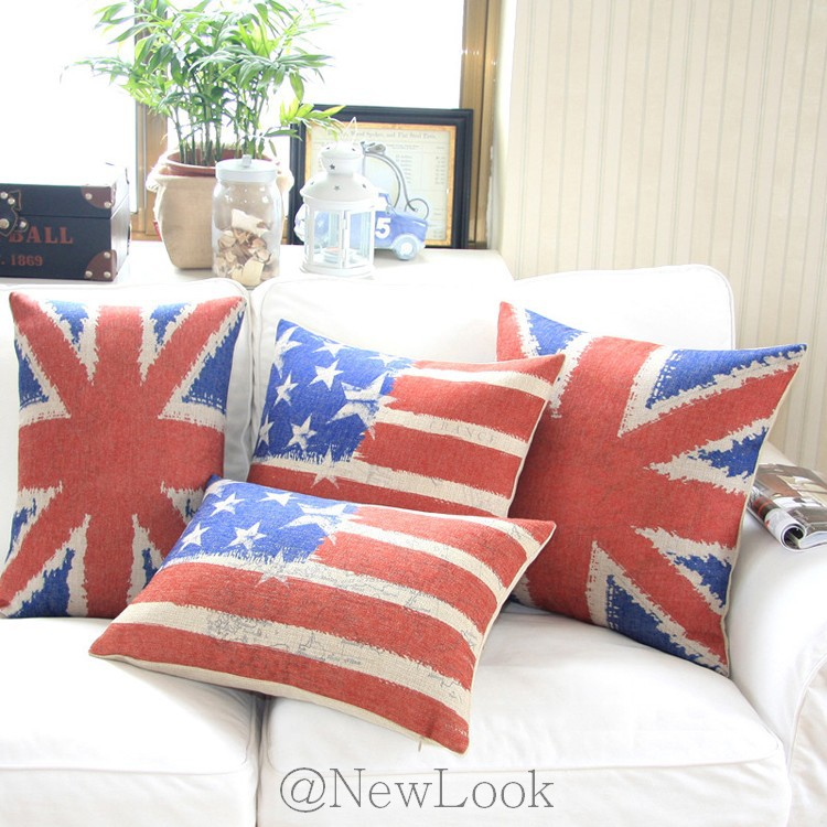 Throw Pillow Set For Couch : 4PCS National Flag Linen Decorative Throw Pillows Decorate for a Sofa Cushion Cover Set Pillow ...