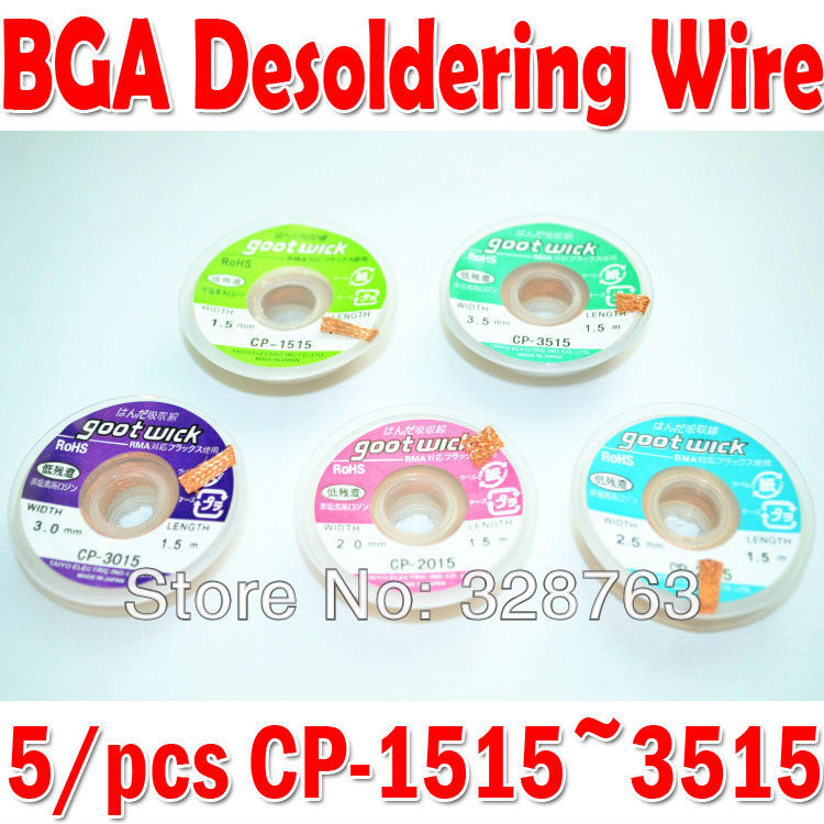 5 pcs/lot BGA Desoldering Wire CP-1515 CP-2015 CP-2515 CP-3015 CP-3515 goot wick / Soldering Accessory(China (Mainland))