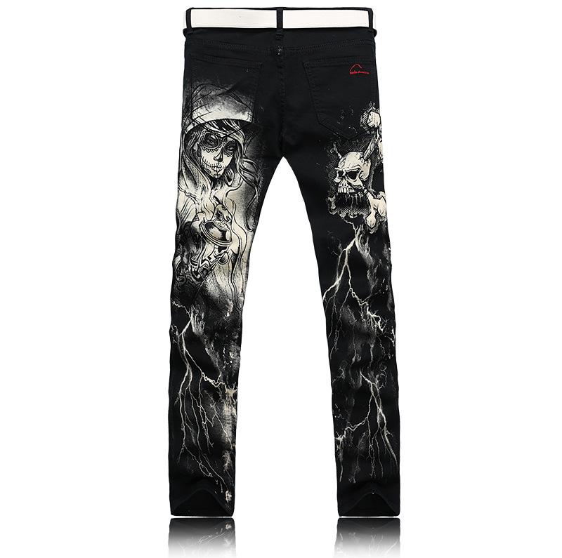 Скидки на Мужская одежда джинсы мужчины Живопись печати cowboy брюки Цветочные брюки Мужской досуг Хлопок сети поддельные дизайнер одежды G221