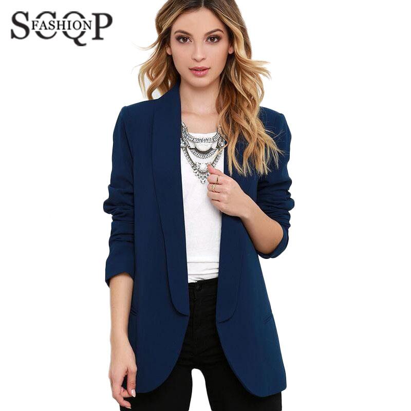 SCQP Solid Blue Women Blazers Pockets Cotton Work Spring Womens Suit Long Sleeve Fashion Cardigan Autumn Ladies Blazer CoatОдежда и ак�е��уары<br><br><br>Aliexpress