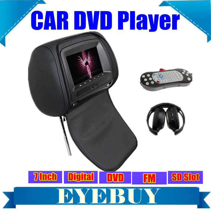 HD 7inch Digital LCD Car Auto Pillow Headrest DVD Player Monitor USB SD FM IR Headphones FOR Automative DVD Player(China (Mainland))