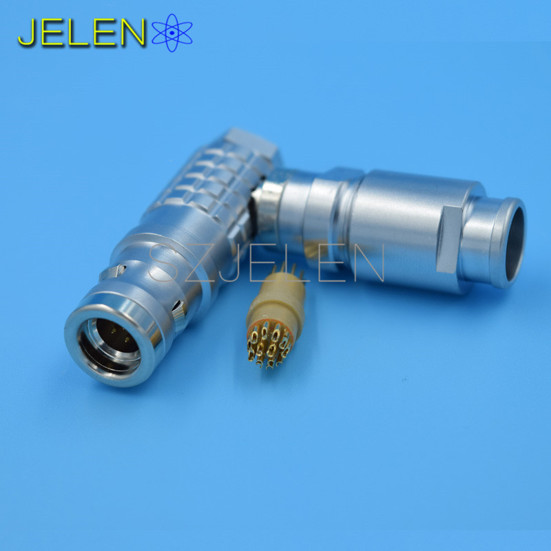 LEMO Waterproof Connector 12-pin plug , FHG.1K.3012.CLAD ,IP68, 90 degree elbow plug ,Outdoor testing equipment connector(China (Mainland))