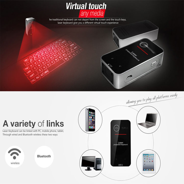 Full size English QWERTY Black Laser Keyboard Wireless Bluetooth Virtual Projector Android iOS Tablet(China (Mainland))