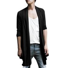 IMC Men Shawl Collar High-Low Hem Long Cardigan Black S - XXL(China (Mainland))