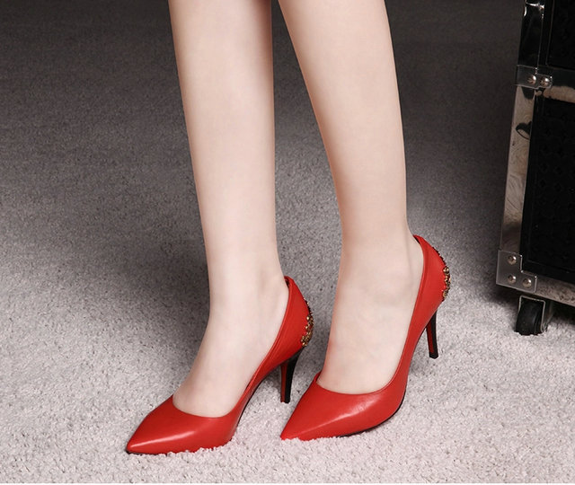 2015 new spring genuine leather shoes pointed head high-heeled shallow mouth OL Sexy all-match women shoes <br><br>Aliexpress