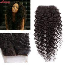 6A Grade Mayasian kinky curly hair lace closure, virgin human hair 3.5*4 free part lace closure bleached knots