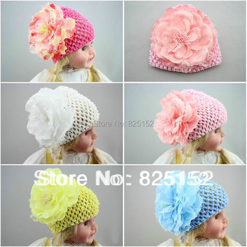 Free Shipping 1pc Baby Girls Toddlers Infant Kids Children Flower Hat Cap Bonnet Beanie Hair Accessories Pink White Blue Yellow(China (Mainland))
