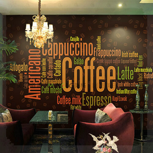 Large photo wall murals wall paper personality coffee shop for Mural coffee shop