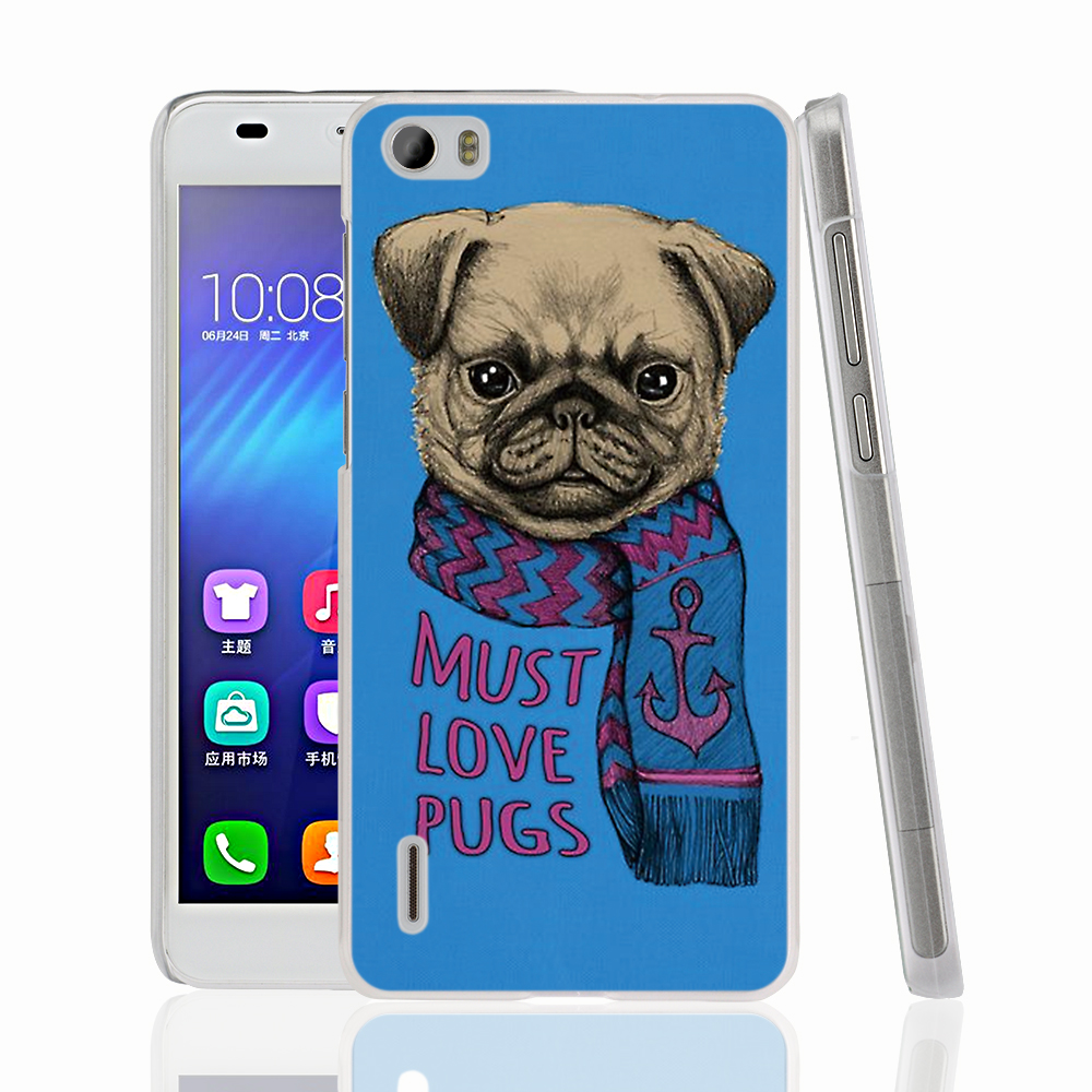 17706 <font><b>must</b></font> <font><b>love</b></font> pugs <font><b>dog</b></font> cell phone Cover Case for huawei honor 3C 4A 4X 4C 5X 6 7