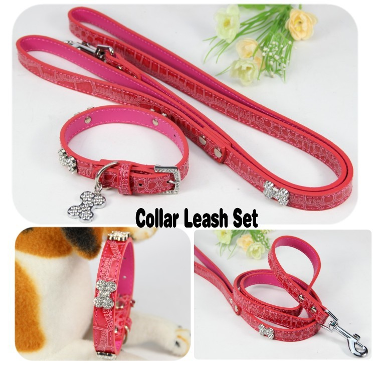 Pet Dog collar Leash Set New Designer Croc Leather Material Rhinestone Bone Charm Pink Collar Small big Large - Lassie pet products store