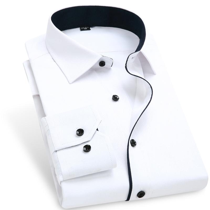 2015 Fashion Contrast Color Blocking Men Dress Shirts 095 BM Long Sleeve Turn Down Collar Mens