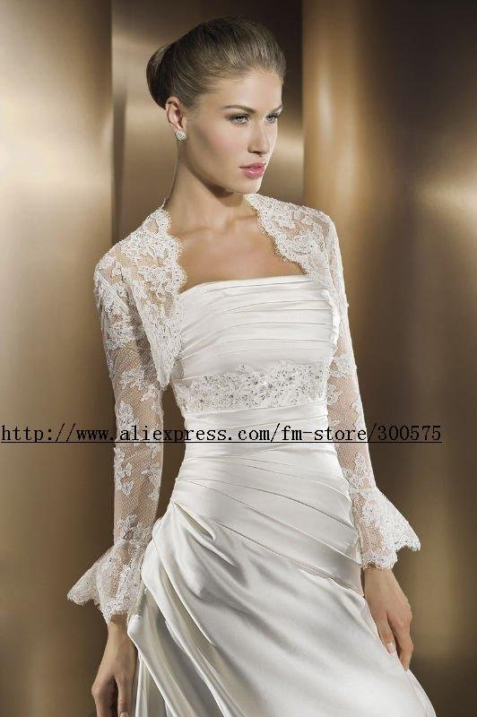 Custom made wedding bridal bolero shrug jacket bridal for Wedding dress long sleeve lace jacket