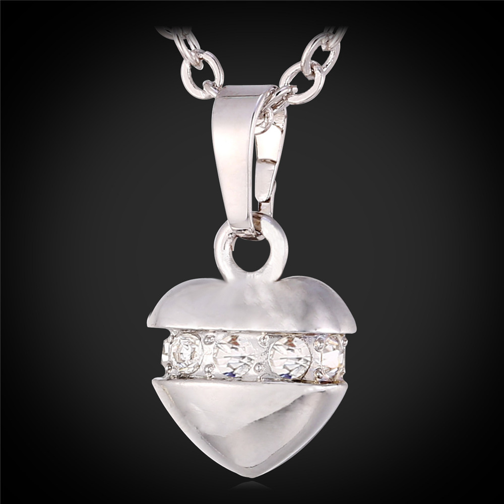Korea Style White Gold Necklace Women Fashion Jewelry 2016 Trendy Gold Plated Cute Love Heart Pendant Necklace IP722(China (Mainland))