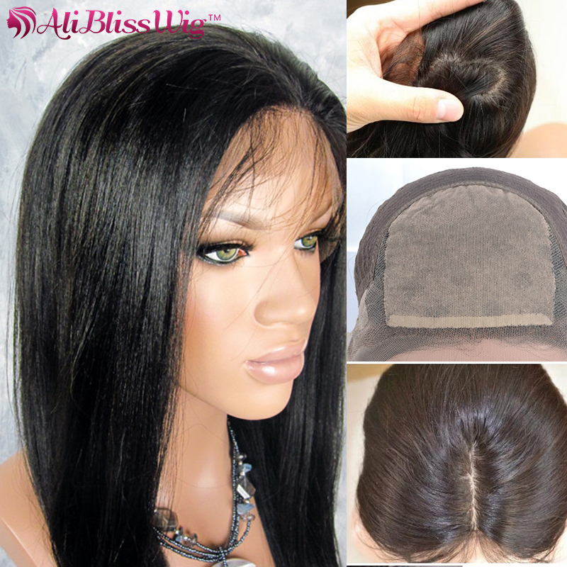 Light Yaki 4x4 Silk Top Lace Front Wigs For Black Women Real Human Hair Virgin Brazilian Glueless Full Lace Wigs With Baby Hair(China (Mainland))