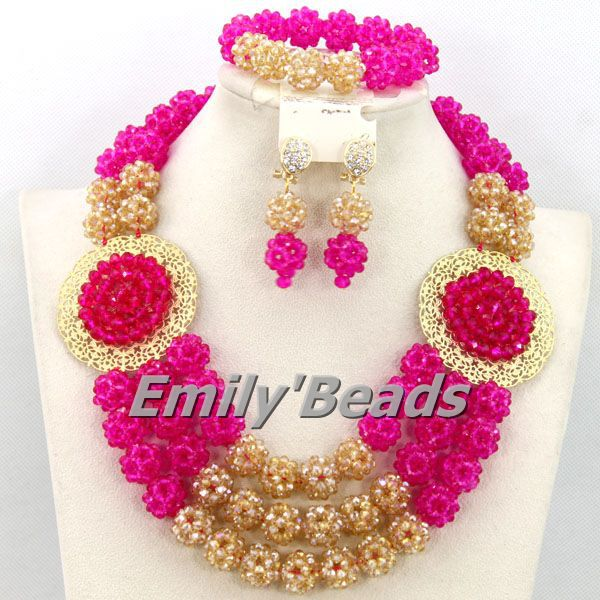 2015 Beautiful African Crystal Beads Nigerian Wedding African Beads Jewelry Sets Costume African Balls Jewelry Sets AEJ748(China (Mainland))